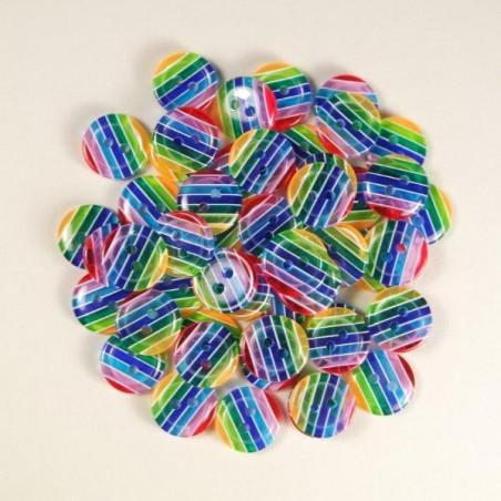 Knopf aus Kunstharz Regenbogen