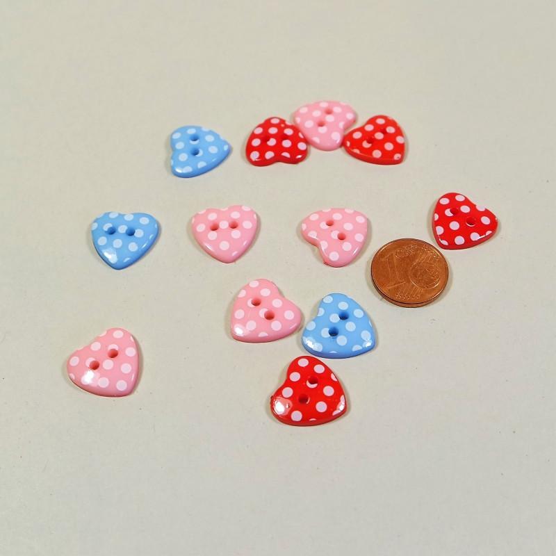 Knopf aus Kunstharz Herz-Dots