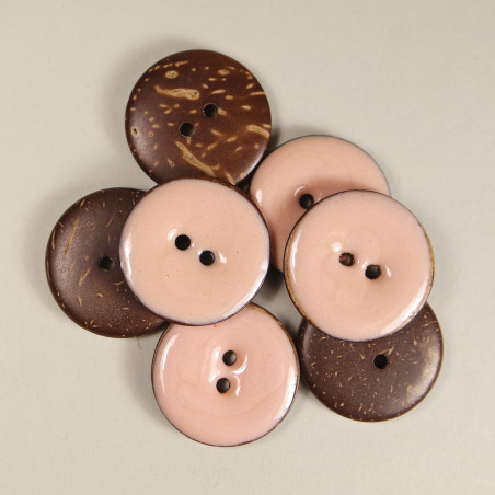 emaillierter Knopf aus Kokos - Fb: apricot